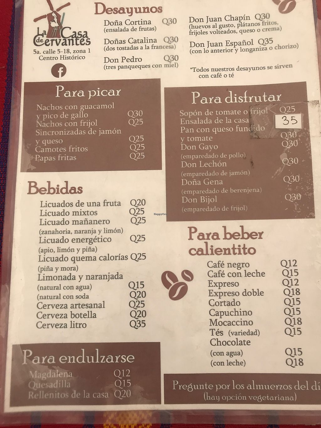 """Photo of La Casa de Cervantes  by <a href=""""/members/profile/IndreArbataityte"""">IndreArbataityte</a> <br/>Menu <br/> February 21, 2018  - <a href='/contact/abuse/image/73229/362129'>Report</a>"""