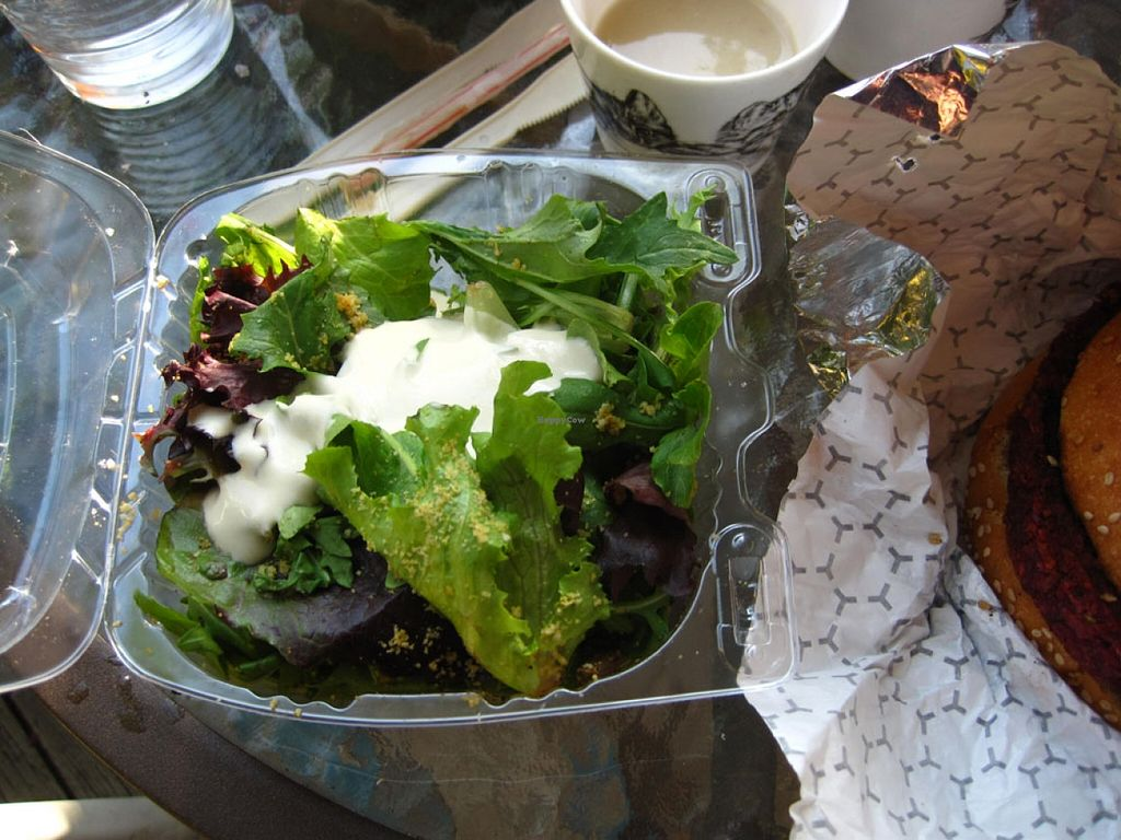"""Photo of CLOSED: Burger Vegan  by <a href=""""/members/profile/Babette"""">Babette</a> <br/>The Vegan Caesar Salad was fabulous: the fresh greens, the dressing and the very crunchy (a little too hard?) chickpeas were delicious. I will order that side again <br/> May 25, 2016  - <a href='/contact/abuse/image/73238/150820'>Report</a>"""