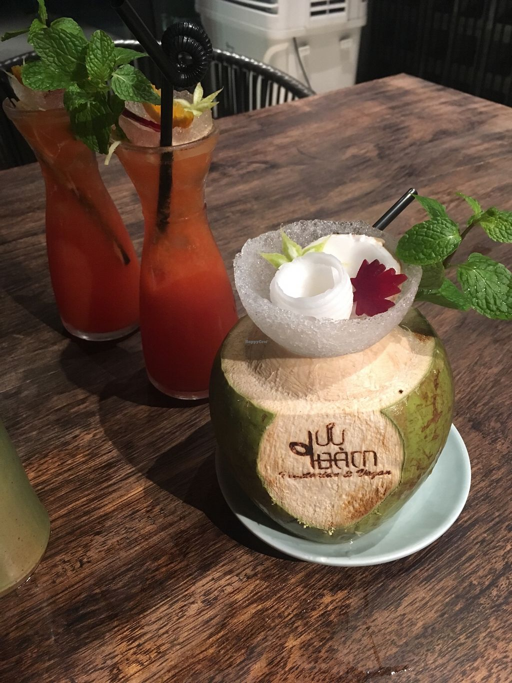 """Photo of Uu Dam Chay  by <a href=""""/members/profile/Veganville"""">Veganville</a> <br/>Vegan sushi, vegan main (platter), fresh coconut and orange juice with ginger ale <br/> March 7, 2018  - <a href='/contact/abuse/image/73265/367799'>Report</a>"""