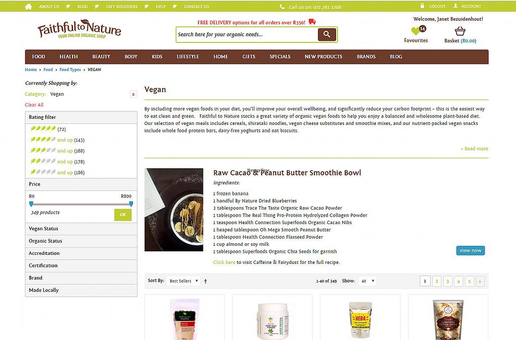 """Photo of Faithful to Nature  by <a href=""""/members/profile/janetbotes"""">janetbotes</a> <br/>Screenshot of the upper part of their vegan section. Showing a recipe! Yum <br/> June 19, 2017  - <a href='/contact/abuse/image/73270/270813'>Report</a>"""