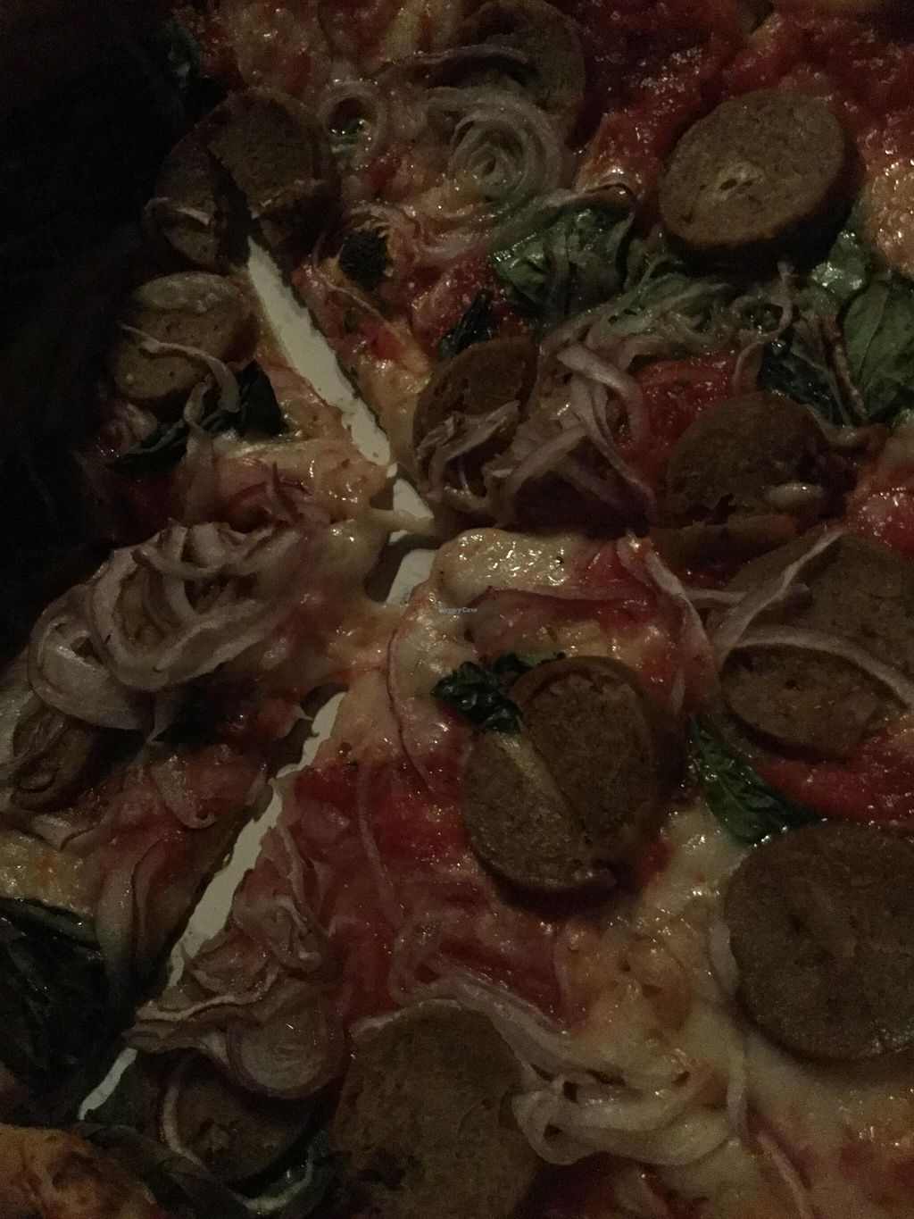 "Photo of Pyro Pizza - Food Truck  by <a href=""/members/profile/Arthousebill"">Arthousebill</a> <br/>Fennel sausage pizza veganized <br/> May 6, 2016  - <a href='/contact/abuse/image/73290/147654'>Report</a>"