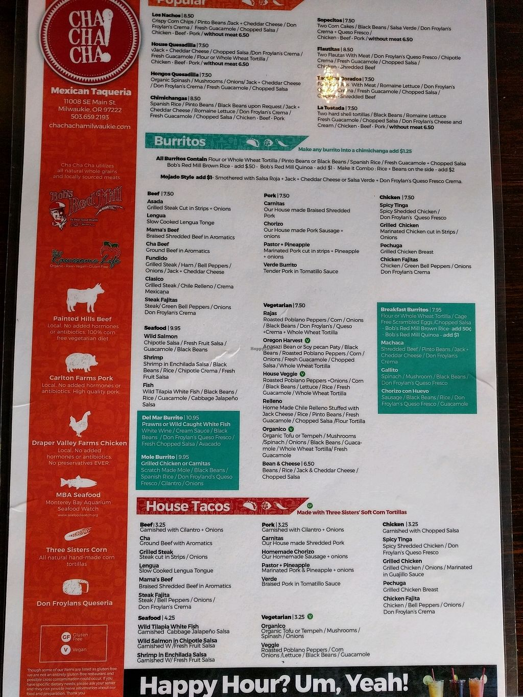 """Photo of Cha! Cha! Cha! - Milwaukie  by <a href=""""/members/profile/The%20Hungry%20Vegan"""">The Hungry Vegan</a> <br/>Menu <br/> November 23, 2017  - <a href='/contact/abuse/image/73291/328375'>Report</a>"""