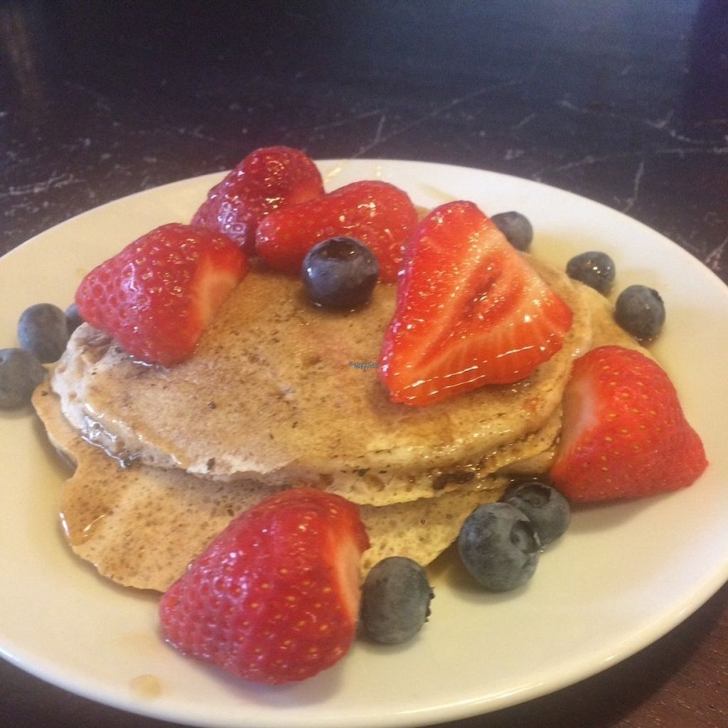 """Photo of PerryLicious Coffee and Cake Rooms  by <a href=""""/members/profile/kateyp1973"""">kateyp1973</a> <br/>Vegan pancakes with fruit and maple syrup <br/> August 20, 2016  - <a href='/contact/abuse/image/73298/170231'>Report</a>"""