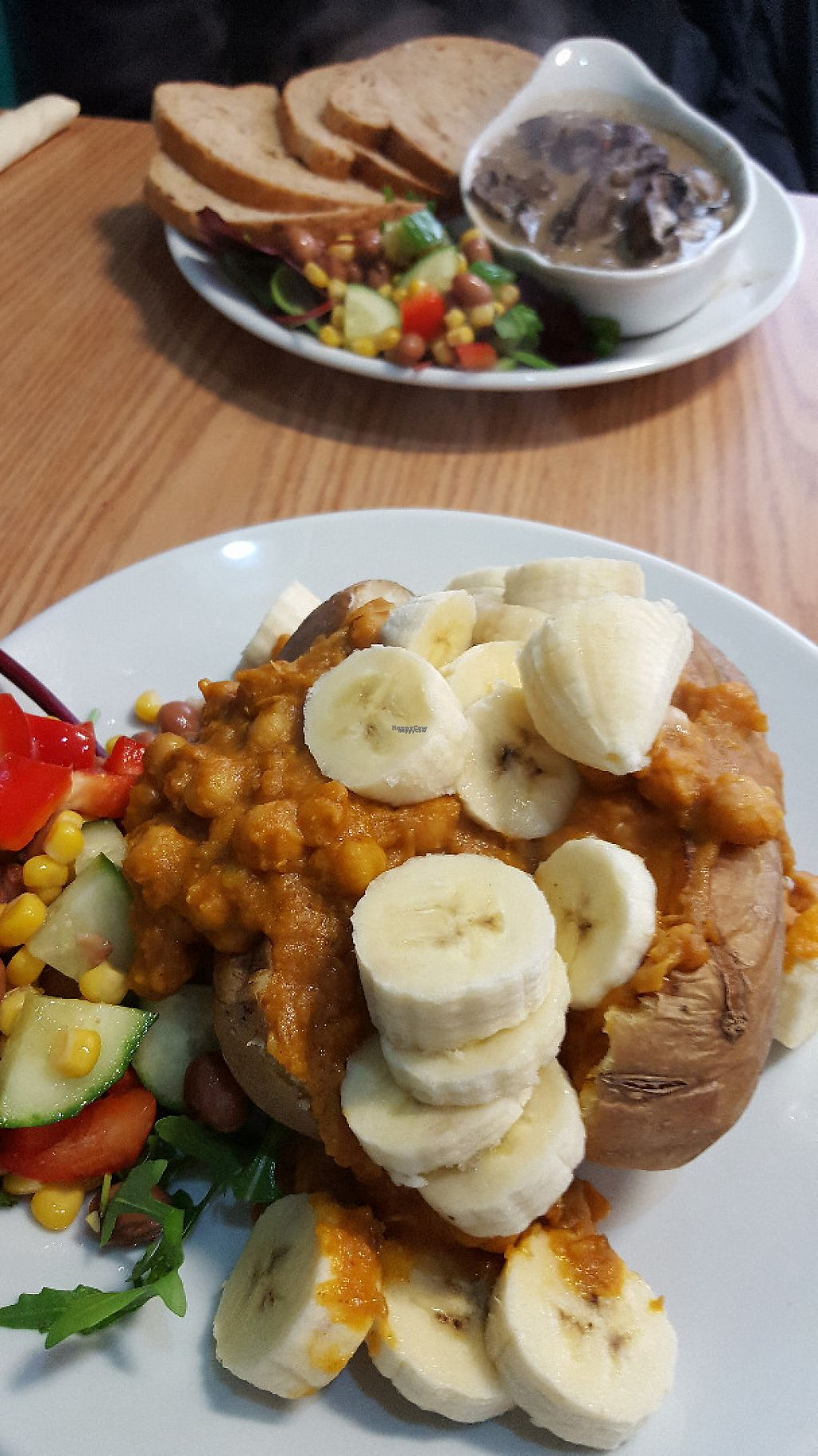 """Photo of PerryLicious Coffee and Cake Rooms  by <a href=""""/members/profile/VeganAnnaS"""">VeganAnnaS</a> <br/>Chickpea dhal with banana <br/> January 7, 2017  - <a href='/contact/abuse/image/73298/209107'>Report</a>"""
