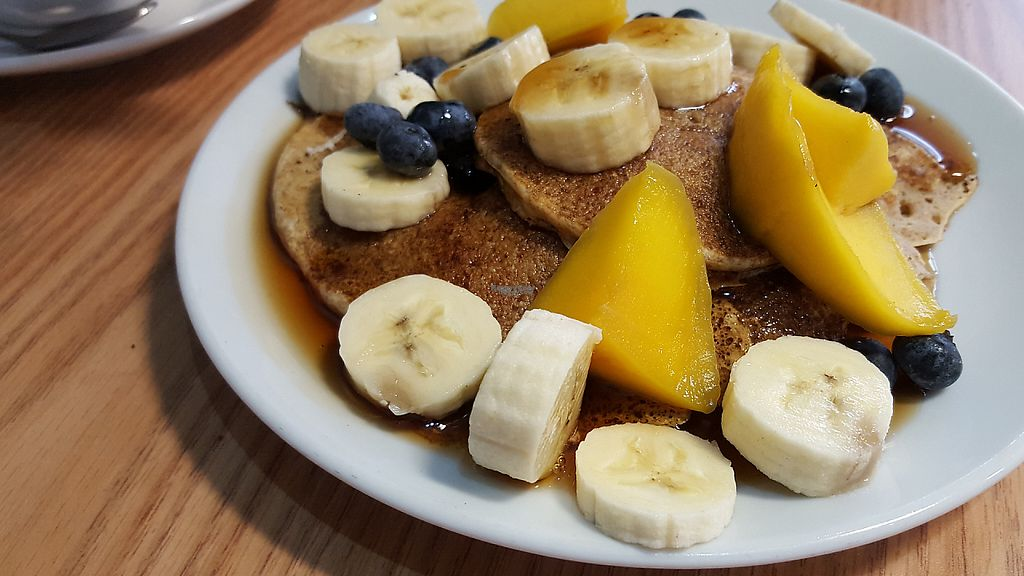 """Photo of PerryLicious Coffee and Cake Rooms  by <a href=""""/members/profile/VeganAnnaS"""">VeganAnnaS</a> <br/>Vegan pancakes with fresh fruit <br/> January 7, 2017  - <a href='/contact/abuse/image/73298/209108'>Report</a>"""