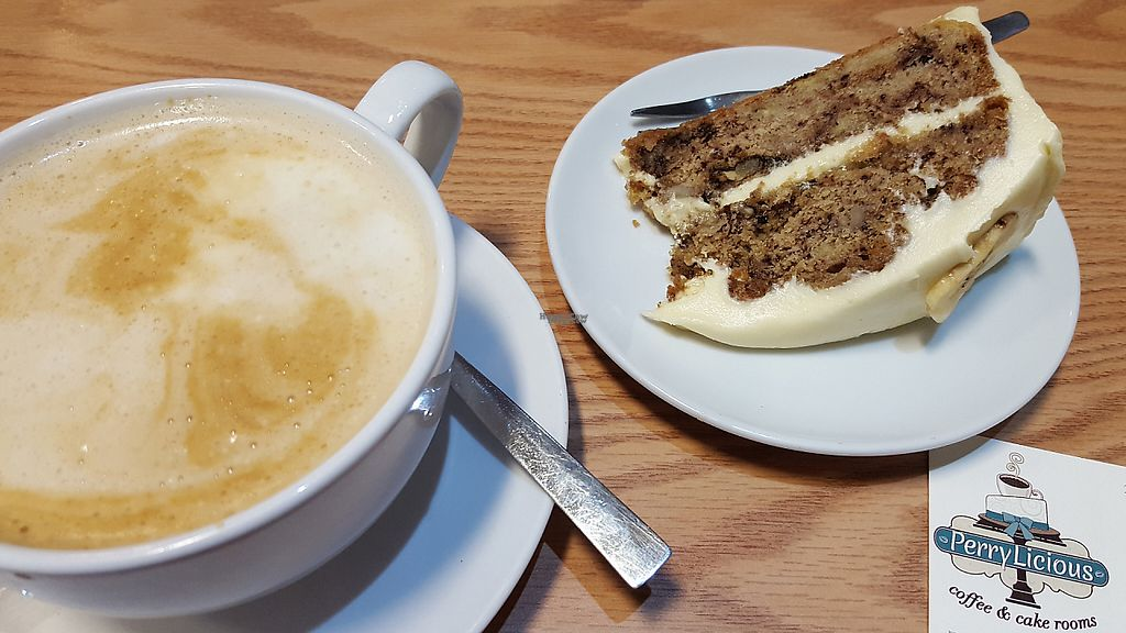 """Photo of PerryLicious Coffee and Cake Rooms  by <a href=""""/members/profile/VeganAnnaS"""">VeganAnnaS</a> <br/>Vegan banana and walnut cake <br/> January 7, 2017  - <a href='/contact/abuse/image/73298/209109'>Report</a>"""