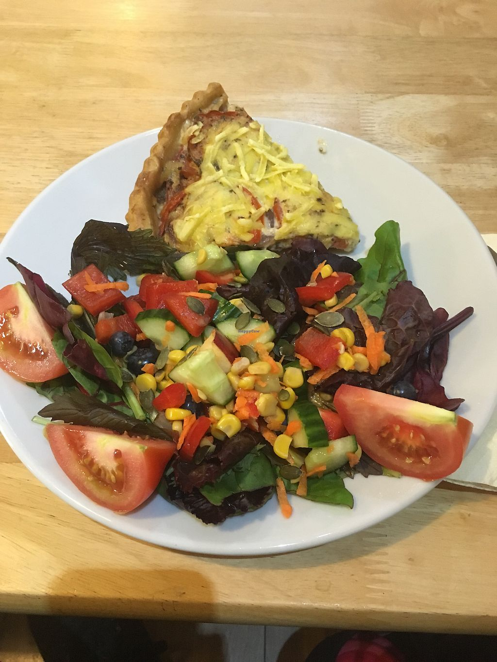 """Photo of PerryLicious Coffee and Cake Rooms  by <a href=""""/members/profile/Kwarmoth"""">Kwarmoth</a> <br/>vegan quiche and salad  <br/> August 6, 2017  - <a href='/contact/abuse/image/73298/289605'>Report</a>"""