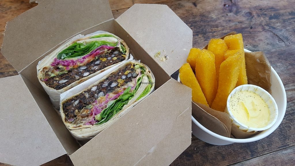 """Photo of gud  by <a href=""""/members/profile/kjd35"""">kjd35</a> <br/>Yummy black bean burger with polenta chips <br/> February 11, 2018  - <a href='/contact/abuse/image/73307/357902'>Report</a>"""
