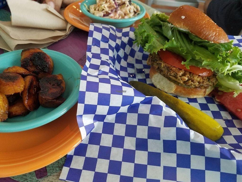 "Photo of CLOSED: Beach Burgerz  by <a href=""/members/profile/araceli"">araceli</a> <br/>Okie Dokie Artichoke veggie burger with plaintain side <br/> August 6, 2016  - <a href='/contact/abuse/image/73333/166398'>Report</a>"