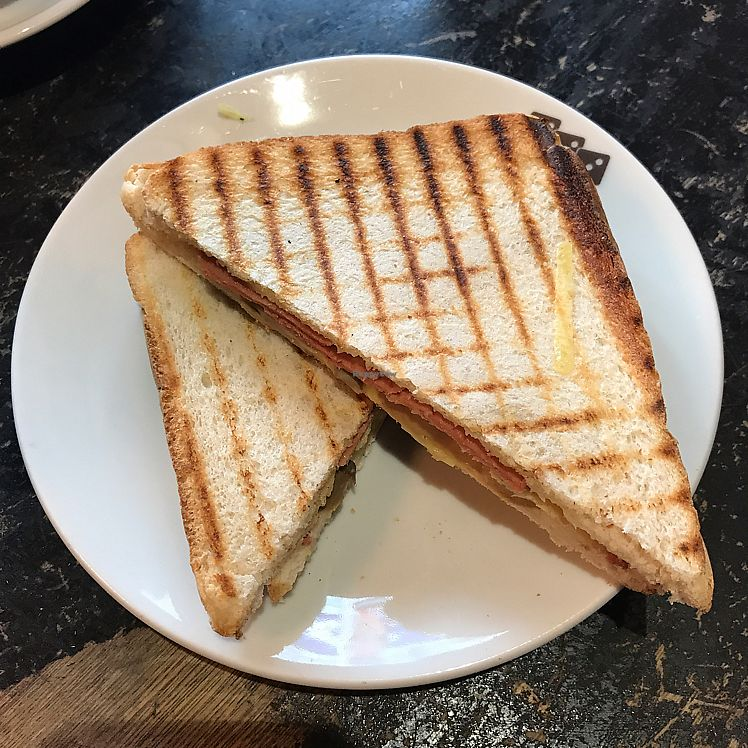 "Photo of 3 Three's Coffee Lounge  by <a href=""/members/profile/The%20London%20Vegan"">The London Vegan</a> <br/>vegan cheese, bacon and mushroom toastie!  <br/> June 10, 2017  - <a href='/contact/abuse/image/73338/267576'>Report</a>"