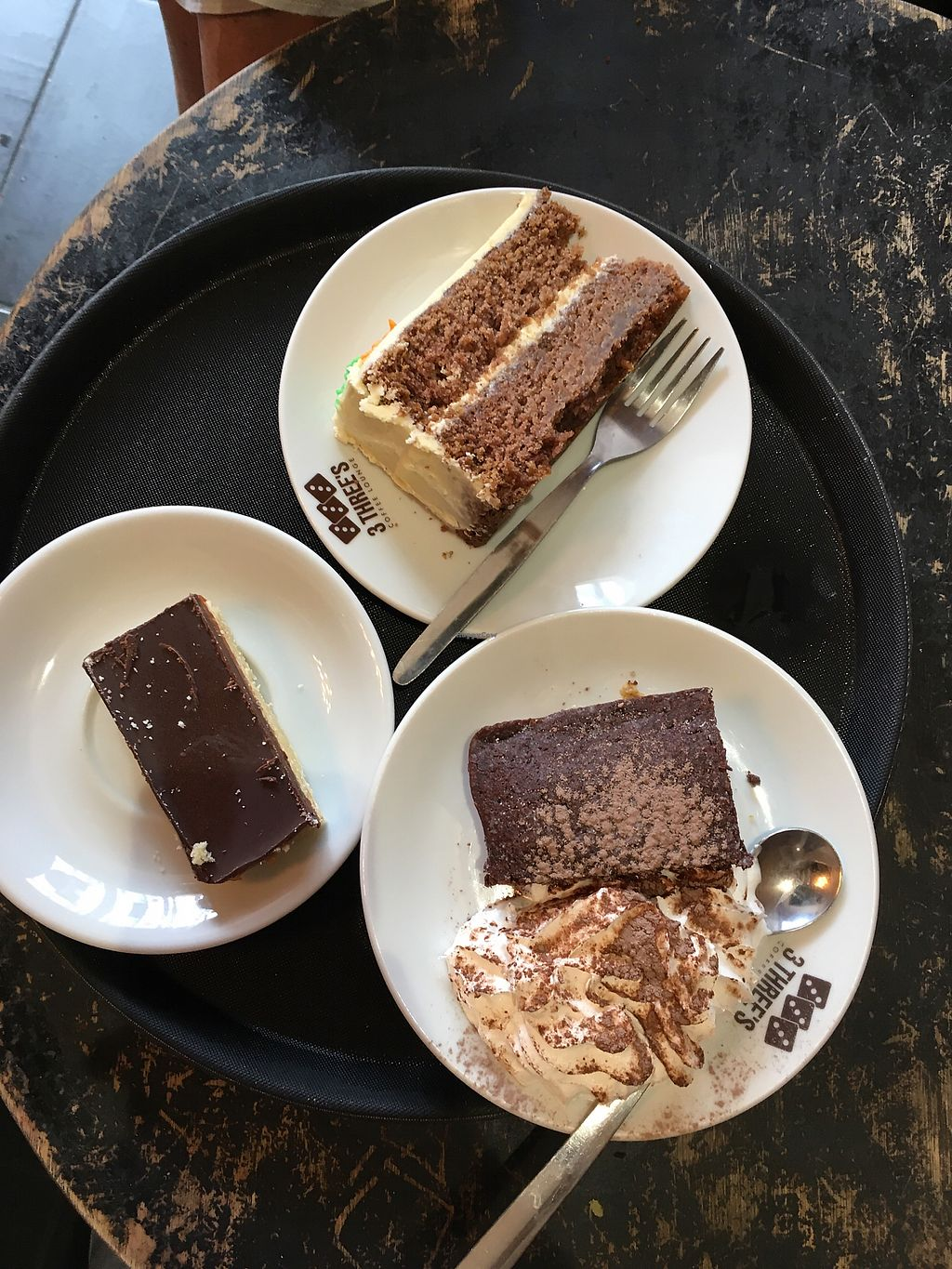 "Photo of 3 Three's Coffee Lounge  by <a href=""/members/profile/Spaghetti_monster"">Spaghetti_monster</a> <br/>vegan cake heaven: carrot cake, warm brownie with soy whip, caramel shortbread <br/> July 23, 2017  - <a href='/contact/abuse/image/73338/283737'>Report</a>"