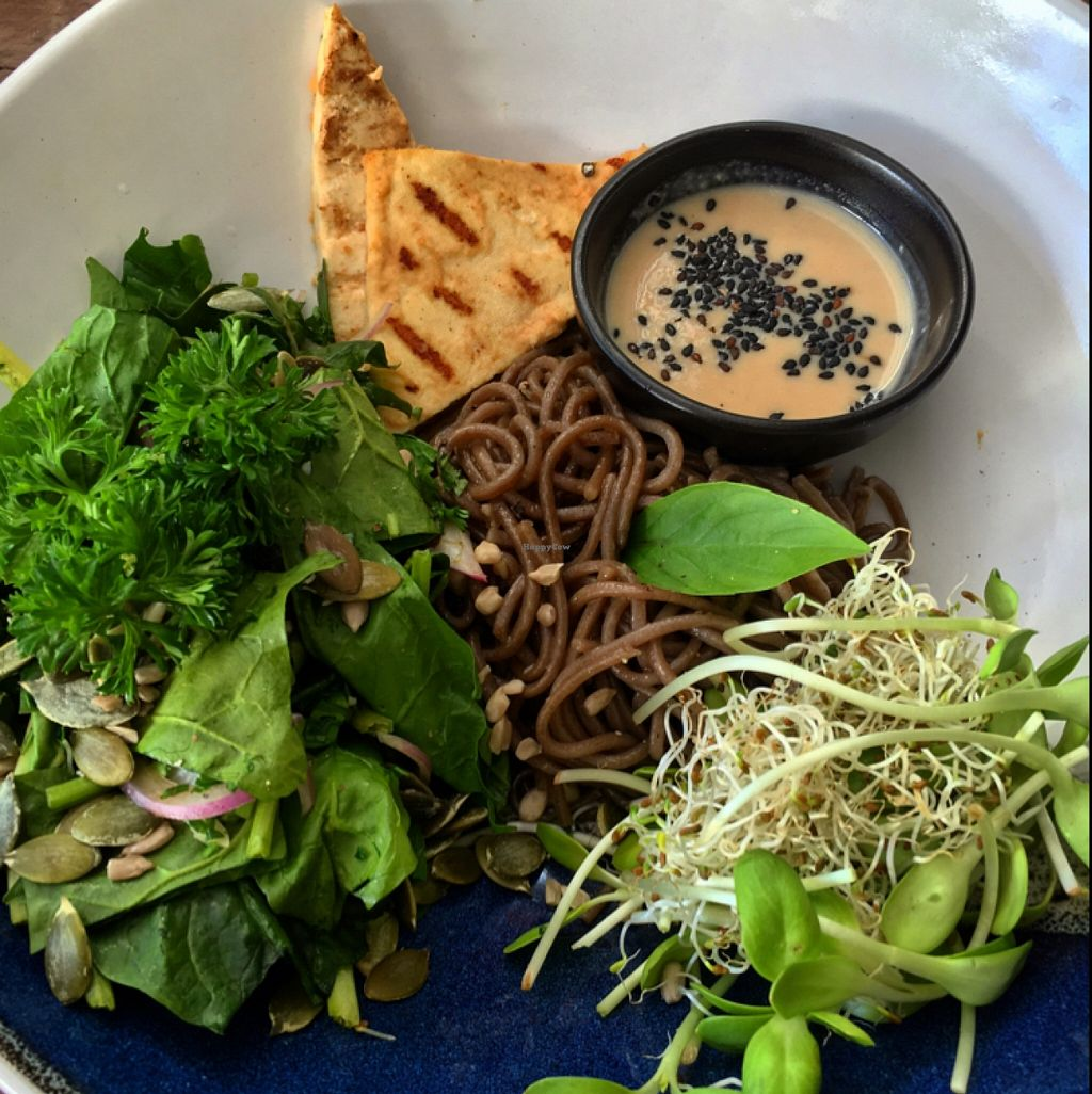 """Photo of Greenlight Cafe & Bar  by <a href=""""/members/profile/SeitanSeitanSeitan"""">SeitanSeitanSeitan</a> <br/>Build your own nourish bowl with soba noodles, tofu, sprouts, spinach, seeds, herbs and miso-tahini dressing <br/> May 8, 2016  - <a href='/contact/abuse/image/73356/148007'>Report</a>"""