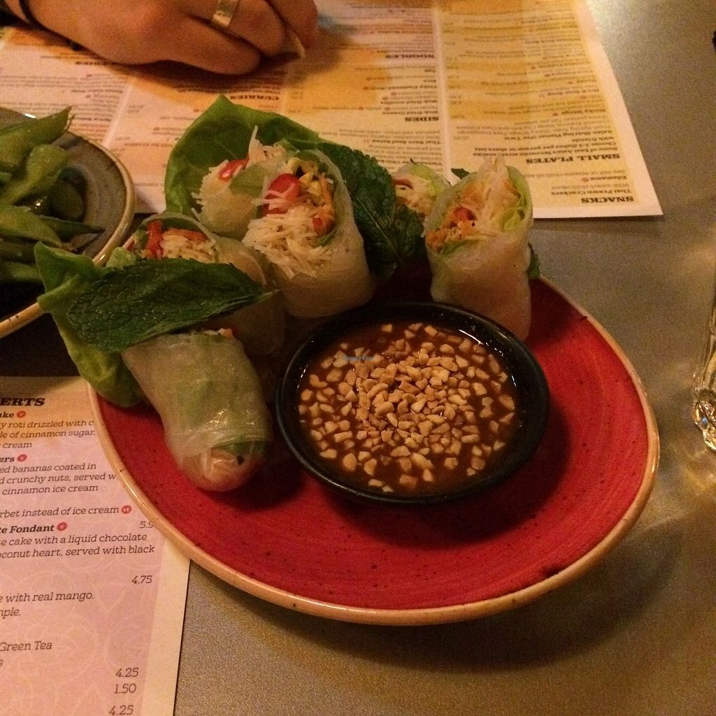"""Photo of Tampopo  by <a href=""""/members/profile/Hoggy"""">Hoggy</a> <br/>Vegan fresh spring rolls with peanut hoisin sauce <br/> September 20, 2017  - <a href='/contact/abuse/image/73418/306459'>Report</a>"""