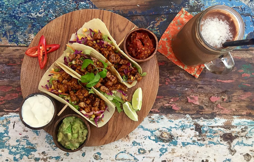 """Photo of CLOSED: The Spicy Coconut  by <a href=""""/members/profile/Aksweetman"""">Aksweetman</a> <br/>Tacos and a Choc Smoothie! <br/> July 23, 2017  - <a href='/contact/abuse/image/73419/283793'>Report</a>"""