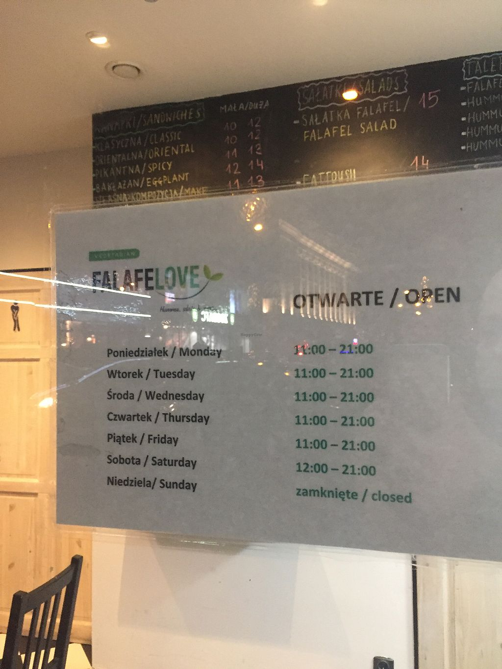 "Photo of Falafelove - Srodmiescie  by <a href=""/members/profile/ppdan"">ppdan</a> <br/>New opening hours <br/> October 28, 2017  - <a href='/contact/abuse/image/73450/319556'>Report</a>"