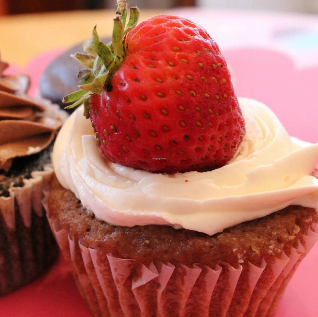 "Photo of Sweet Visions Vegan Bakery  by <a href=""/members/profile/community"">community</a> <br/>vegan strawberry cream cupcake <br/> May 13, 2016  - <a href='/contact/abuse/image/73457/148841'>Report</a>"