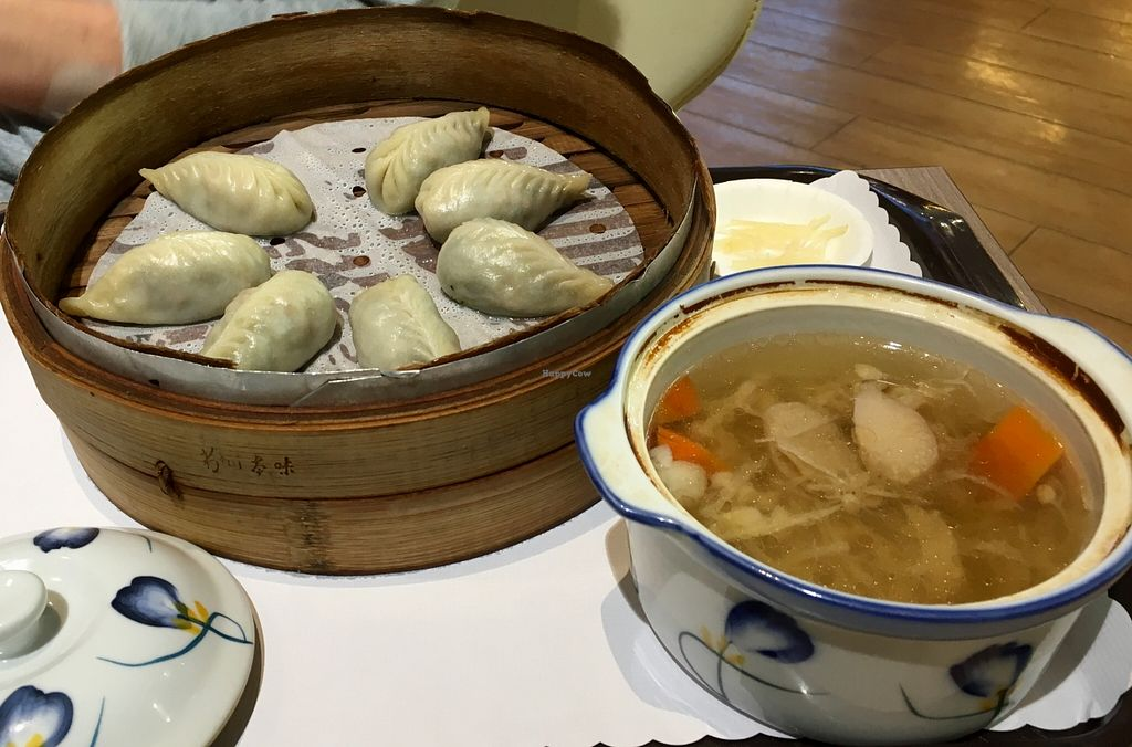 """Photo of I-Mei Food Company - Taoyuan Airport   by <a href=""""/members/profile/paulkates"""">paulkates</a> <br/>Vegan Dumpling Set <br/> May 8, 2016  - <a href='/contact/abuse/image/73460/148107'>Report</a>"""