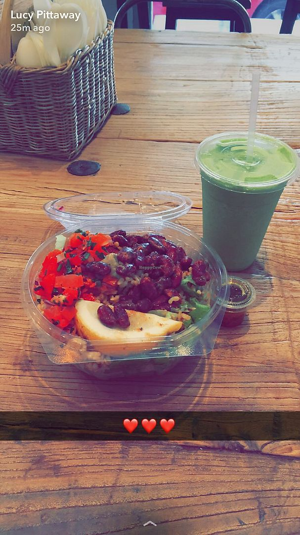 """Photo of Ziva To Go - Santa Catalina  by <a href=""""/members/profile/LucyPittaway"""">LucyPittaway</a> <br/>Mexican salad and green smoothie <br/> June 9, 2017  - <a href='/contact/abuse/image/73476/267268'>Report</a>"""