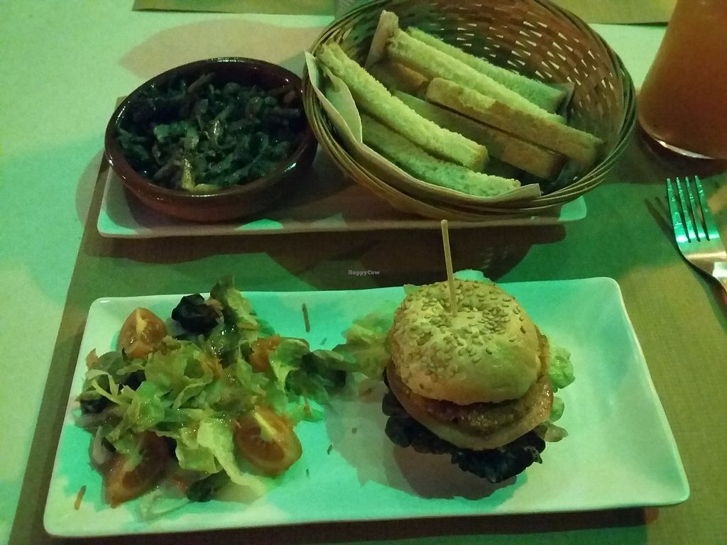 """Photo of Green Iguana Bar  by <a href=""""/members/profile/Carolien"""">Carolien</a> <br/>Mushrooms served with toasted bread and a mini burger with salad <br/> January 12, 2018  - <a href='/contact/abuse/image/73541/345729'>Report</a>"""