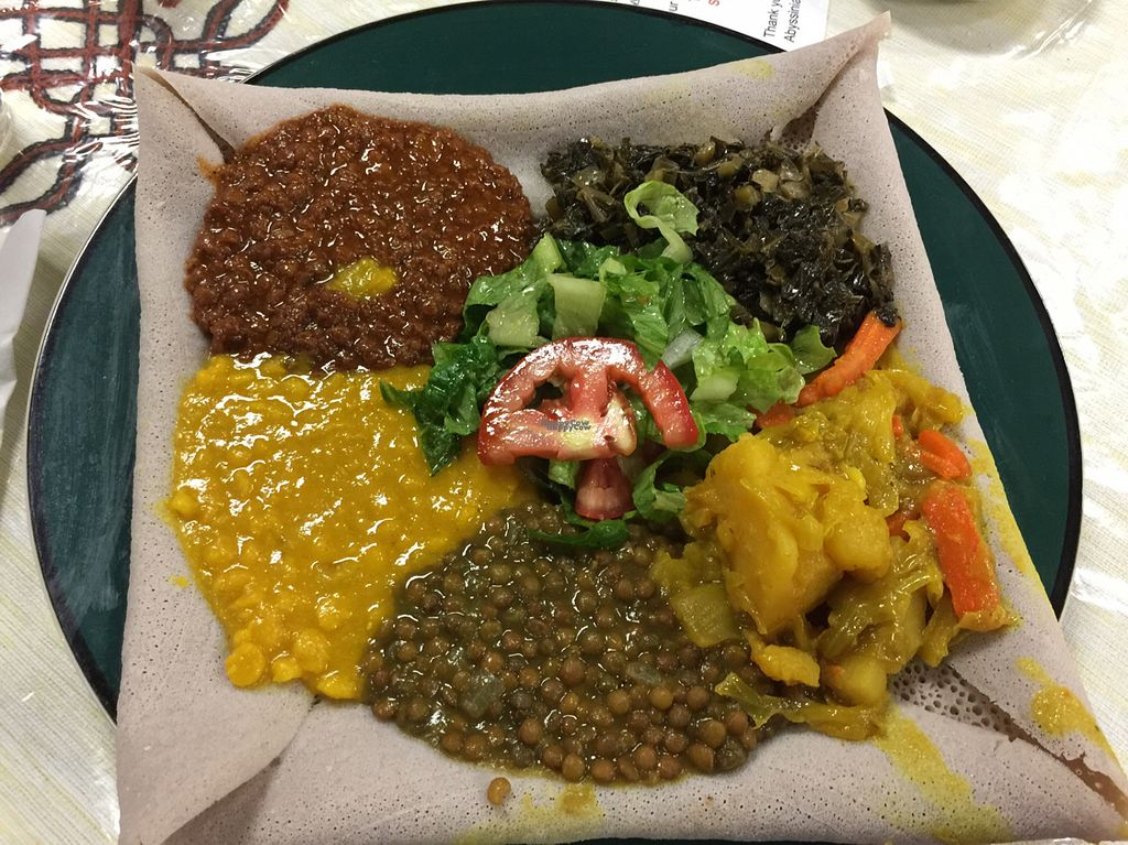 """Photo of Abyssinia  by <a href=""""/members/profile/sncpapa"""">sncpapa</a> <br/>Vegan Combo Plate!  Yummy! <br/> October 1, 2016  - <a href='/contact/abuse/image/73601/178914'>Report</a>"""