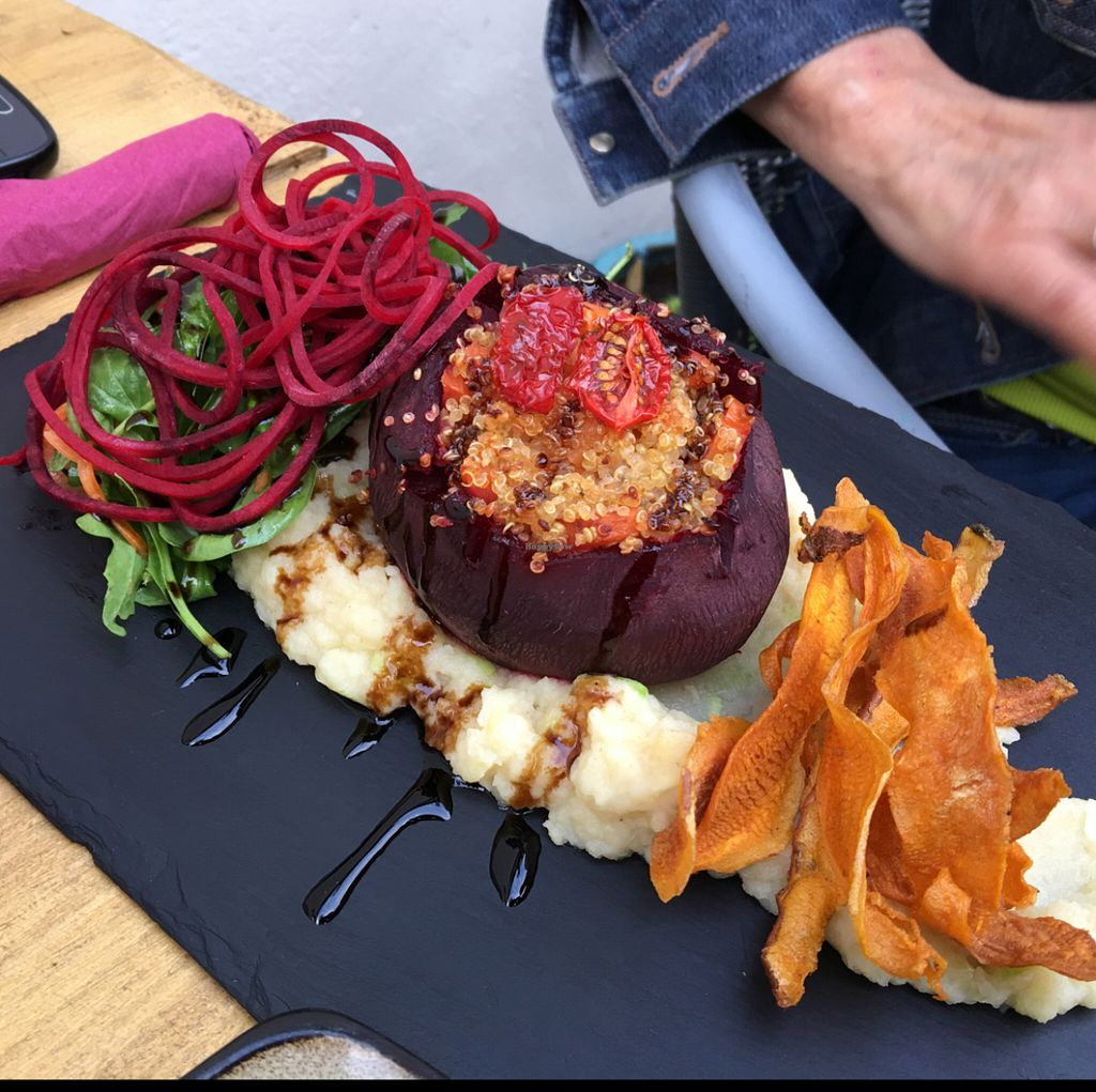 """Photo of CLOSED: Amala Conscious Food  by <a href=""""/members/profile/Danielwagner"""">Danielwagner</a> <br/>baked beetroot stuffed with quinoa and glazed carrots. sever on celeriac mash and sweet potato crisps and side salad  <br/> May 28, 2016  - <a href='/contact/abuse/image/73611/151220'>Report</a>"""