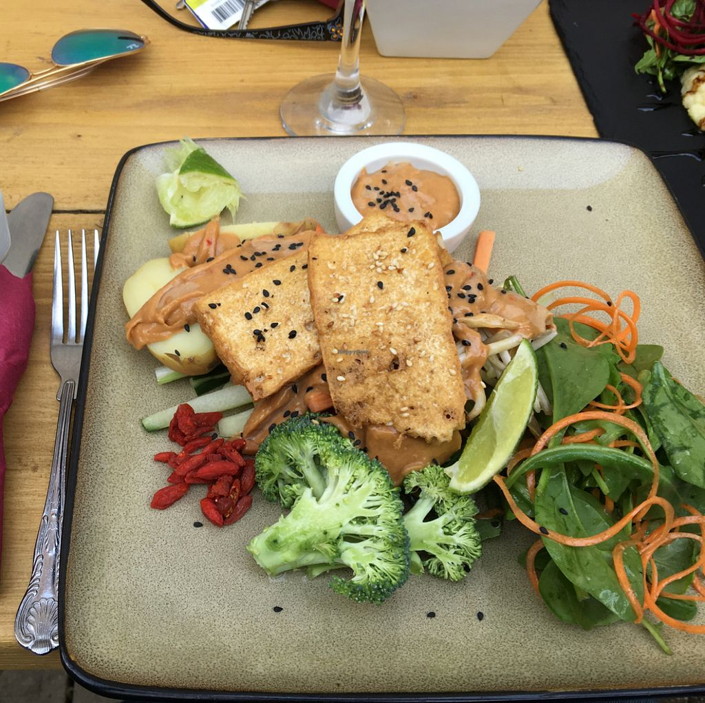"""Photo of CLOSED: Amala Conscious Food  by <a href=""""/members/profile/Danielwagner"""">Danielwagner</a> <br/>Gado Gado with crispy tofu and spicy peanut sauce. with raw vegetables and potatoes.  <br/> May 28, 2016  - <a href='/contact/abuse/image/73611/151221'>Report</a>"""