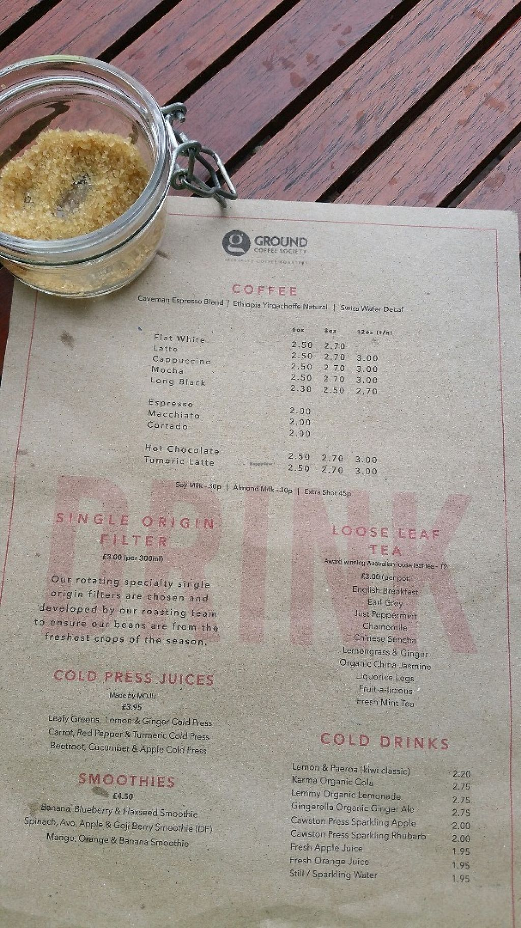 "Photo of Ground Coffee Society  by <a href=""/members/profile/jollypig"">jollypig</a> <br/>Coffee/drinks menu <br/> May 1, 2017  - <a href='/contact/abuse/image/73612/254612'>Report</a>"