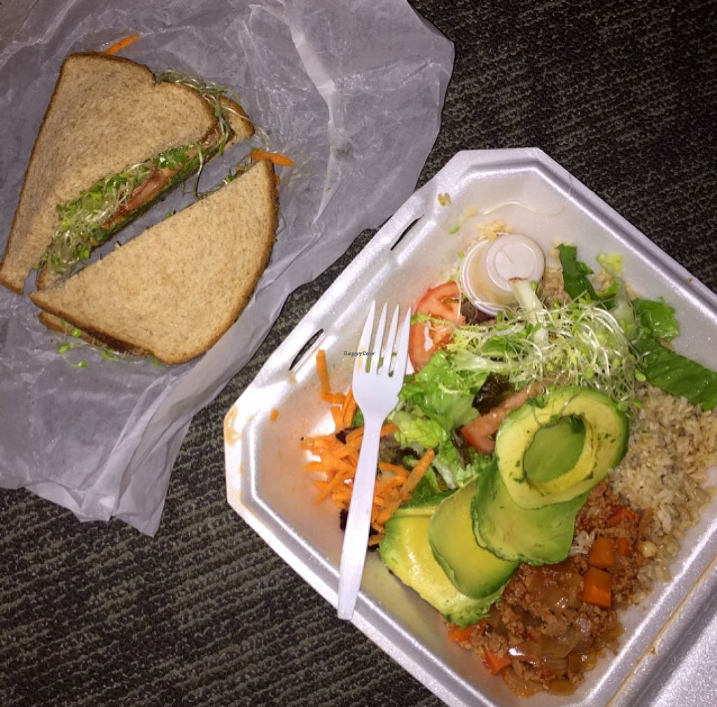 "Photo of Ruffage Natural Foods  by <a href=""/members/profile/jamieliu386"">jamieliu386</a> <br/>totally vegan special and taro burger avocado <br/> August 28, 2015  - <a href='/contact/abuse/image/7361/115454'>Report</a>"