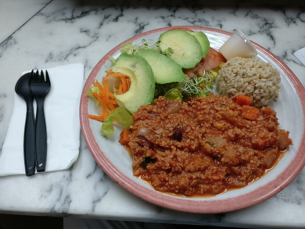 "Photo of Ruffage Natural Foods  by <a href=""/members/profile/KarinKoala"">KarinKoala</a> <br/>Vegan chili with rice and avocado  <br/> March 23, 2018  - <a href='/contact/abuse/image/7361/374866'>Report</a>"