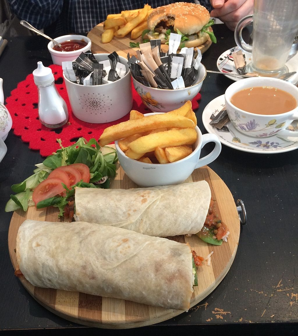 """Photo of Aingels Cafe Bistro  by <a href=""""/members/profile/xraysez"""">xraysez</a> <br/>Wrap. And burger. Vegan.  <br/> August 25, 2017  - <a href='/contact/abuse/image/73642/296938'>Report</a>"""