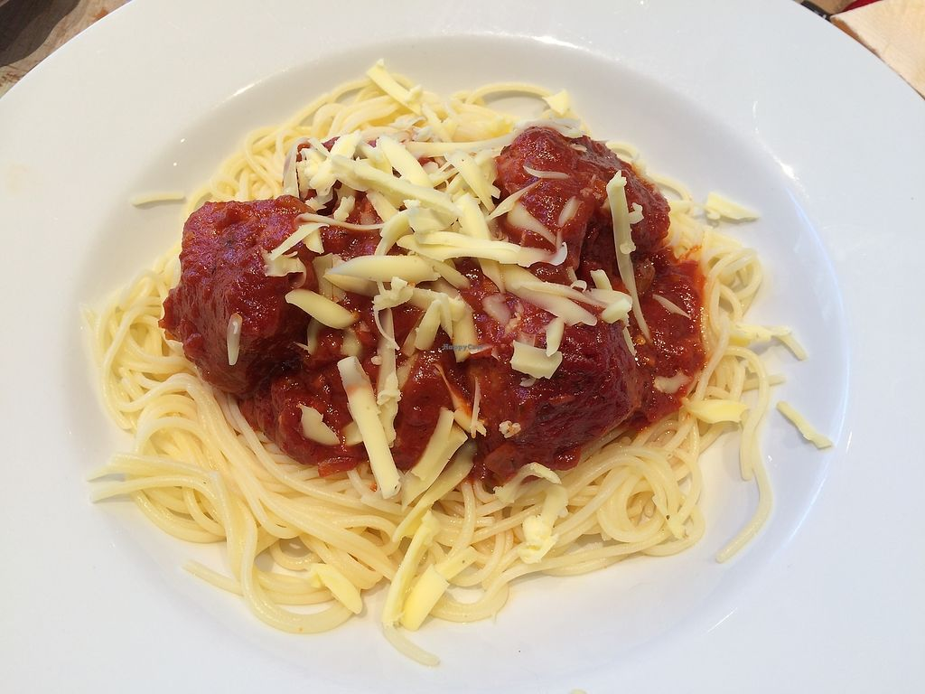 """Photo of Aingels Cafe Bistro  by <a href=""""/members/profile/xraysez"""">xraysez</a> <br/>Vegan pasta meatballs.  <br/> August 25, 2017  - <a href='/contact/abuse/image/73642/296943'>Report</a>"""