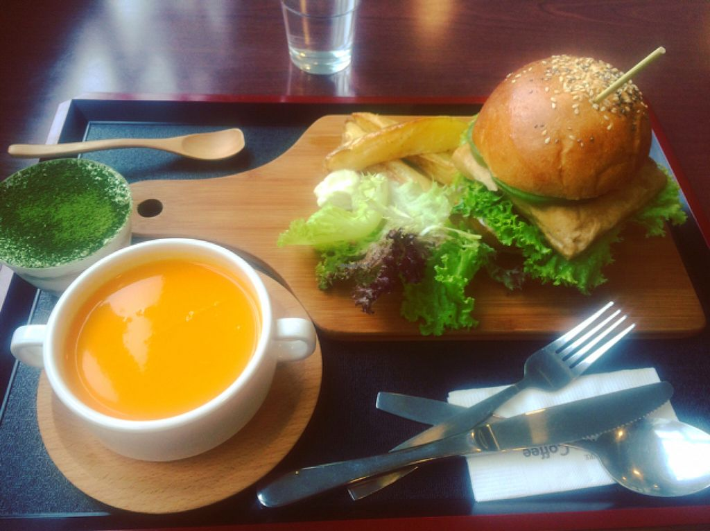 "Photo of Loving Nature - Kwai Hing  by <a href=""/members/profile/kay1abear"">kay1abear</a> <br/>tofu burger, carrot soup, green tea pudding  <br/> July 10, 2016  - <a href='/contact/abuse/image/73650/158899'>Report</a>"