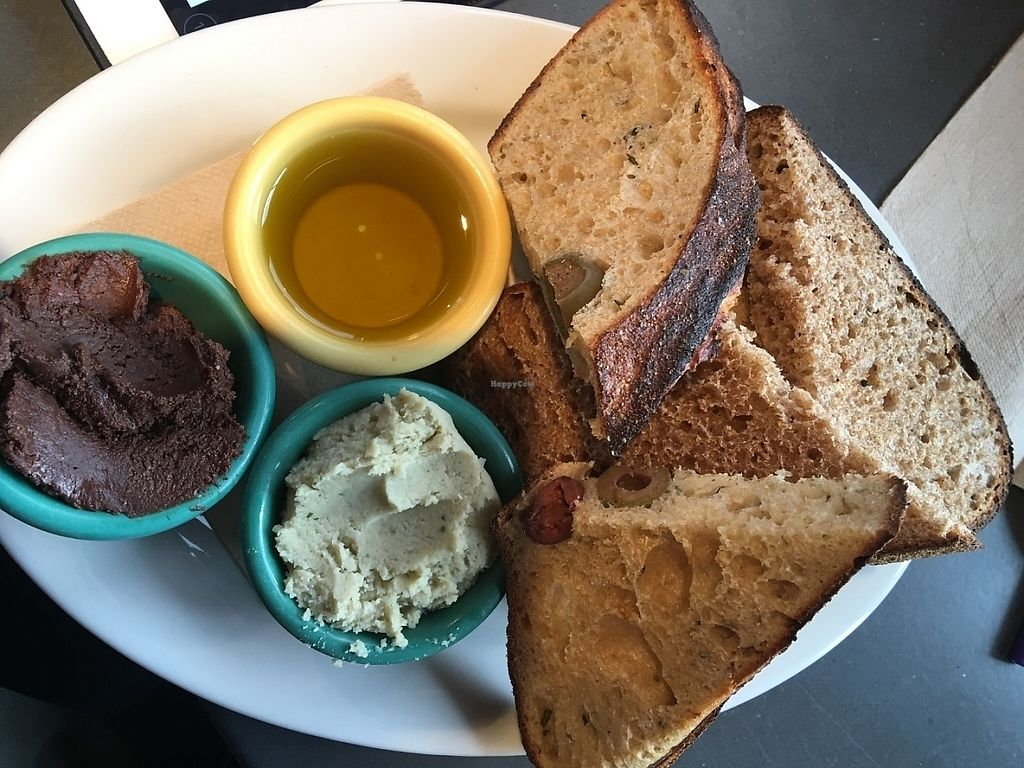 """Photo of Tabor Bread  by <a href=""""/members/profile/Arthousebill"""">Arthousebill</a> <br/>Toast sampler with rosemary white bean spread, chocolate hazelnut spread and olive oil <br/> June 16, 2016  - <a href='/contact/abuse/image/73682/221682'>Report</a>"""