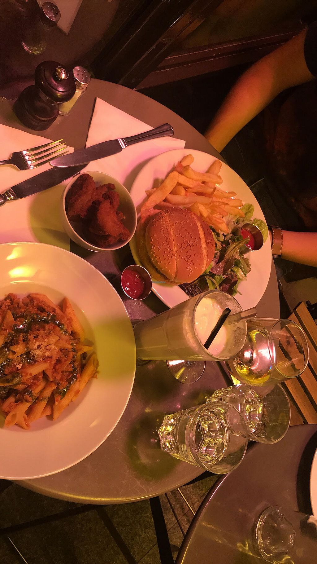"""Photo of Brasserie 2eme Art  by <a href=""""/members/profile/kipear"""">kipear</a> <br/>the vegan cheese burger, the penne Bolognese, chick'n nuggets and a pina colada!!!! all vegan and all amazing!!! the mock meats are incredible here <br/> October 14, 2017  - <a href='/contact/abuse/image/73690/314978'>Report</a>"""