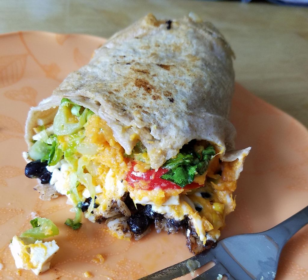"""Photo of Home Kitchen Cafe  by <a href=""""/members/profile/Mchanner11"""">Mchanner11</a> <br/>My burrito with daiya, black beans, rice, pineapple salsa, tofu adobo, avocado, sweet potato, red peppers, lettuce, and corn <br/> May 15, 2016  - <a href='/contact/abuse/image/73697/201513'>Report</a>"""