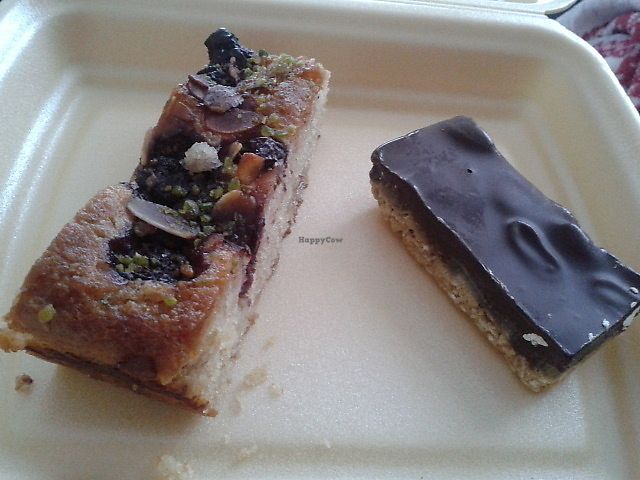 """Photo of Bojangles   by <a href=""""/members/profile/deadpledge"""">deadpledge</a> <br/>Vegan marzipan and cherry cake and 'snickers' slice <br/> January 3, 2018  - <a href='/contact/abuse/image/73702/342631'>Report</a>"""