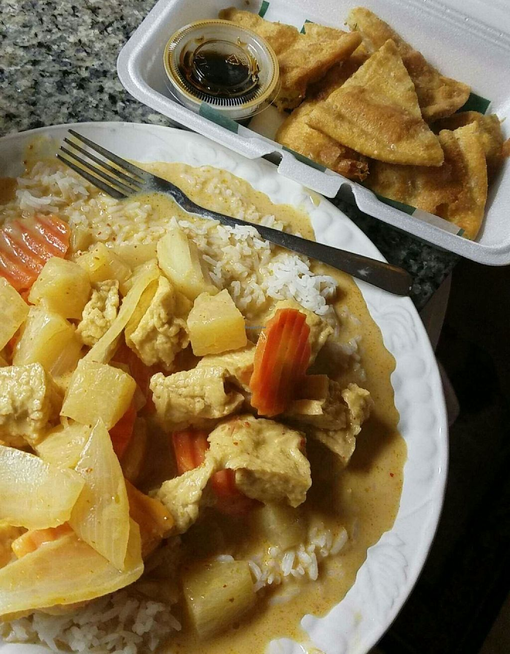 """Photo of Roselyn Thai Fine Cuisine   by <a href=""""/members/profile/Mchanner11"""">Mchanner11</a> <br/>Yellow curry with tofu and scallion pancakes! <br/> May 14, 2016  - <a href='/contact/abuse/image/73704/201512'>Report</a>"""