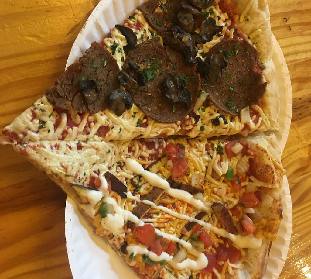 """Photo of Ian's Pizza  by <a href=""""/members/profile/Leksee"""">Leksee</a> <br/>Vegan Pepperoni & Mushroom/ Vegan Taco with Tofu <br/> September 27, 2016  - <a href='/contact/abuse/image/73729/233752'>Report</a>"""