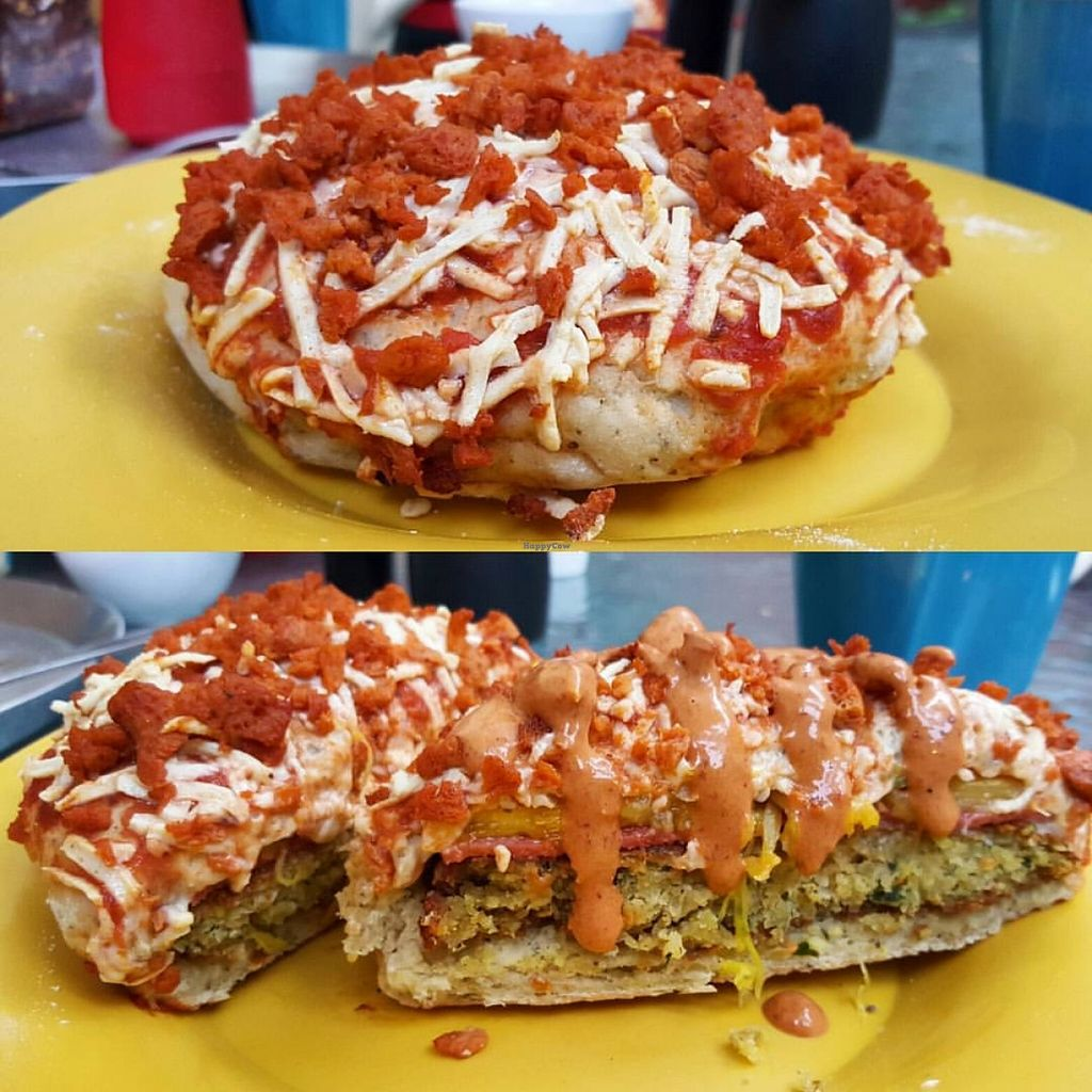 "Photo of Vegarum  by <a href=""/members/profile/AngelTrevino"">AngelTrevino</a> <br/>Pizzaburger with falafel patty <br/> May 15, 2016  - <a href='/contact/abuse/image/73751/149150'>Report</a>"