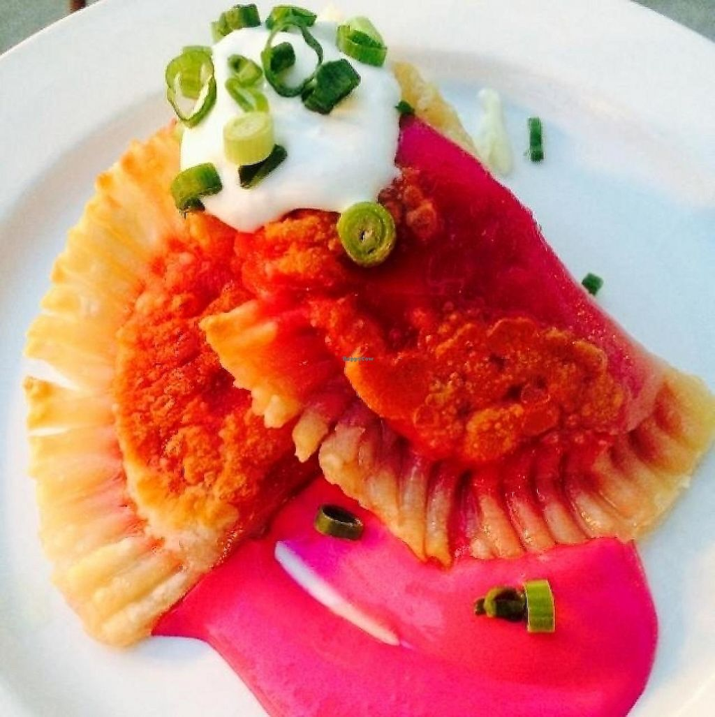 """Photo of Leaf Vegetarian Restaurant  by <a href=""""/members/profile/SRQYogaGirl"""">SRQYogaGirl</a> <br/>vegan beet pierogis <br/> July 6, 2014  - <a href='/contact/abuse/image/7376/190772'>Report</a>"""