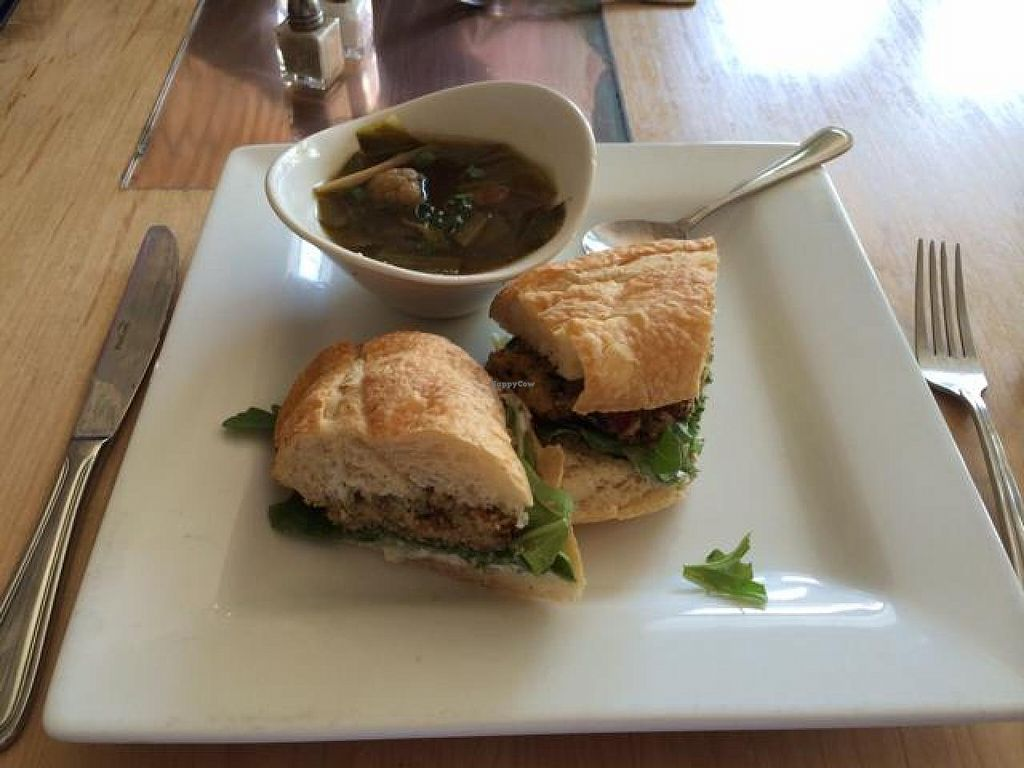 """Photo of Leaf Vegetarian Restaurant  by <a href=""""/members/profile/tauberl"""">tauberl</a> <br/>'crab cake' sandwich and vegetable soup <br/> July 21, 2014  - <a href='/contact/abuse/image/7376/74614'>Report</a>"""