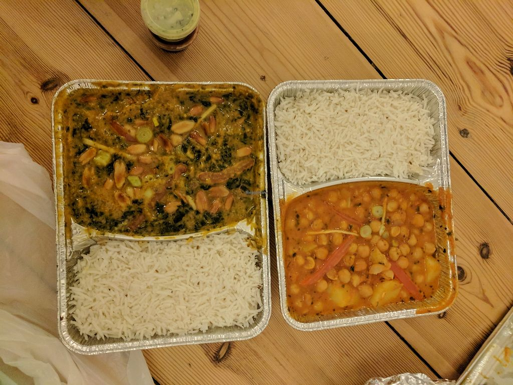 "Photo of Krishna  by <a href=""/members/profile/lmcc"">lmcc</a> <br/>Takeout of Vegan Chicken Saag Badam (left) & Chole Alu (right) <br/> November 21, 2017  - <a href='/contact/abuse/image/73770/327917'>Report</a>"