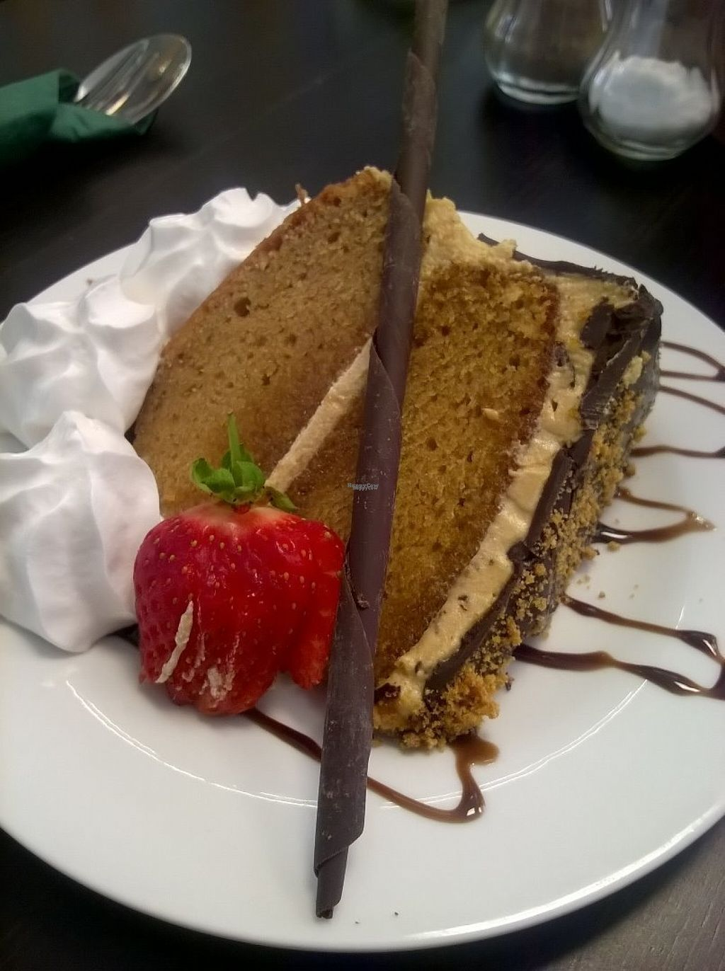 """Photo of The Green Room  by <a href=""""/members/profile/deadpledge"""">deadpledge</a> <br/>Vegan salted caramel cake with cream <br/> August 9, 2016  - <a href='/contact/abuse/image/73773/167257'>Report</a>"""