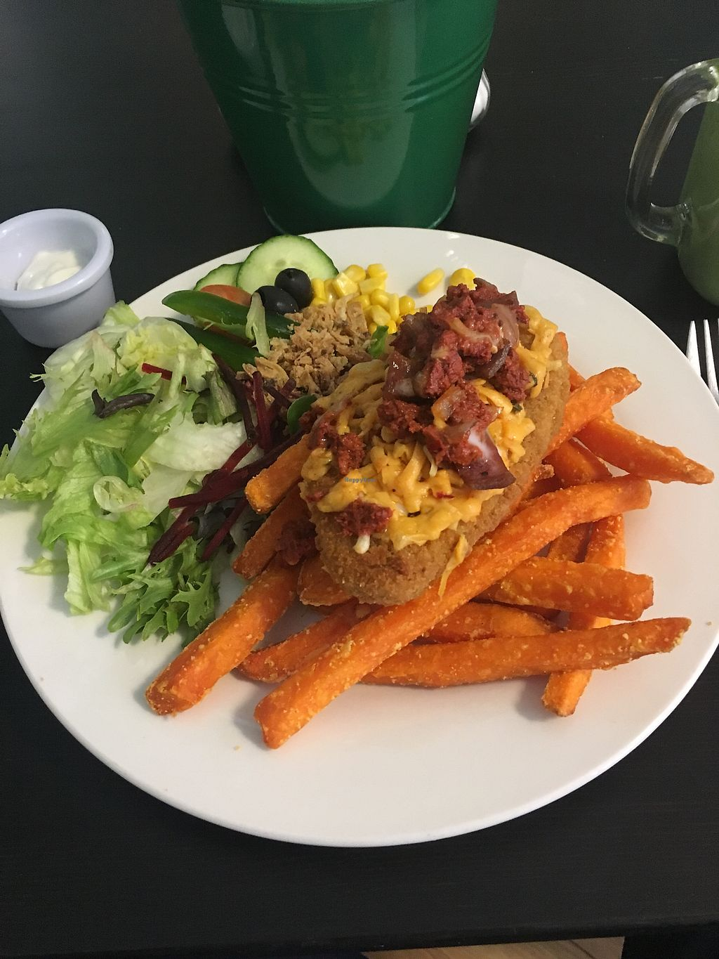 """Photo of The Green Room  by <a href=""""/members/profile/Nyle.95"""">Nyle.95</a> <br/>Hot Shot Parmo & sweet potato fries  <br/> February 14, 2018  - <a href='/contact/abuse/image/73773/359265'>Report</a>"""