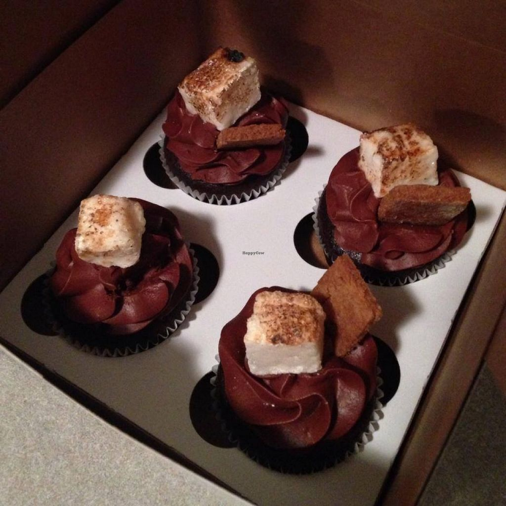 """Photo of The Cupcake Bar  by <a href=""""/members/profile/turtleveg"""">turtleveg</a> <br/>vegan s'mores cupcakes (house-made vegan marshmallow on top) <br/> May 16, 2016  - <a href='/contact/abuse/image/73809/149320'>Report</a>"""