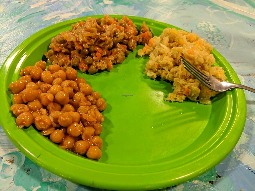 """Photo of SUNY Binghamton Food Co-op  by <a href=""""/members/profile/JulianneLavallee"""">JulianneLavallee</a> <br/>Sweet and sour chickpeas, Fried rice, Cabbage and carrot stir fry. $7.86 <br/> January 31, 2018  - <a href='/contact/abuse/image/7383/353240'>Report</a>"""