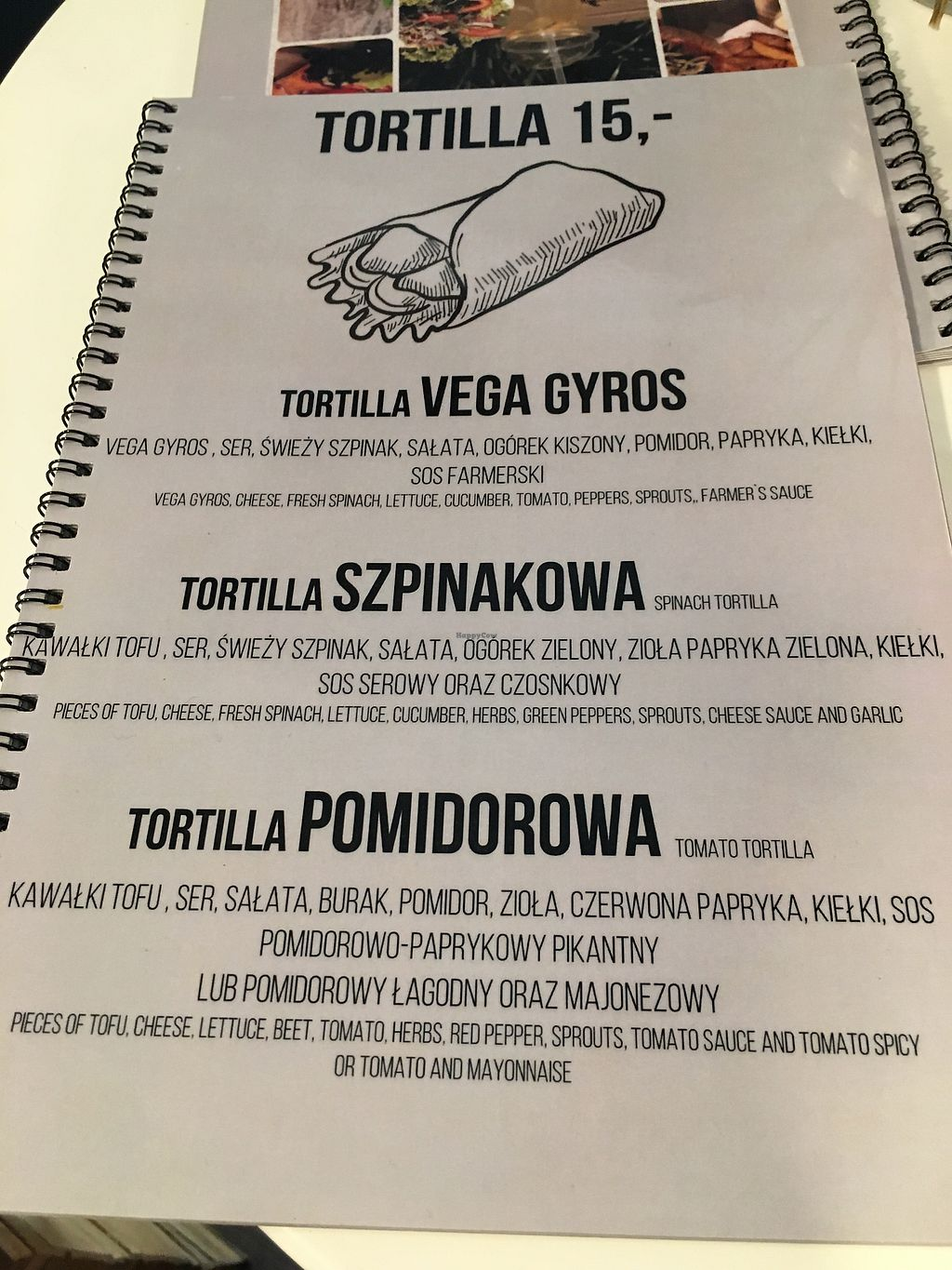 "Photo of Free Farma Burgerownia Roslinna  by <a href=""/members/profile/danielaj"">danielaj</a> <br/>tortilla wraps menu <br/> August 17, 2017  - <a href='/contact/abuse/image/73850/293632'>Report</a>"