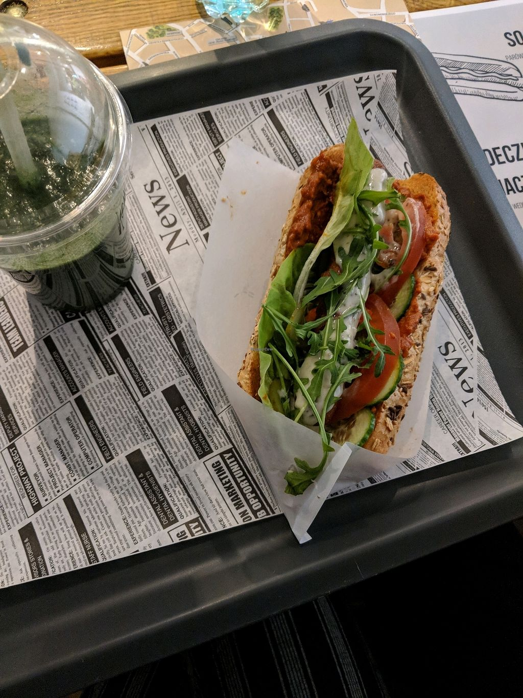 "Photo of Free Farma Burgerownia Roslinna  by <a href=""/members/profile/UpasanaKadam"">UpasanaKadam</a> <br/>soy dog with chilli and garlic sauce and a green juice  <br/> March 24, 2018  - <a href='/contact/abuse/image/73850/375315'>Report</a>"