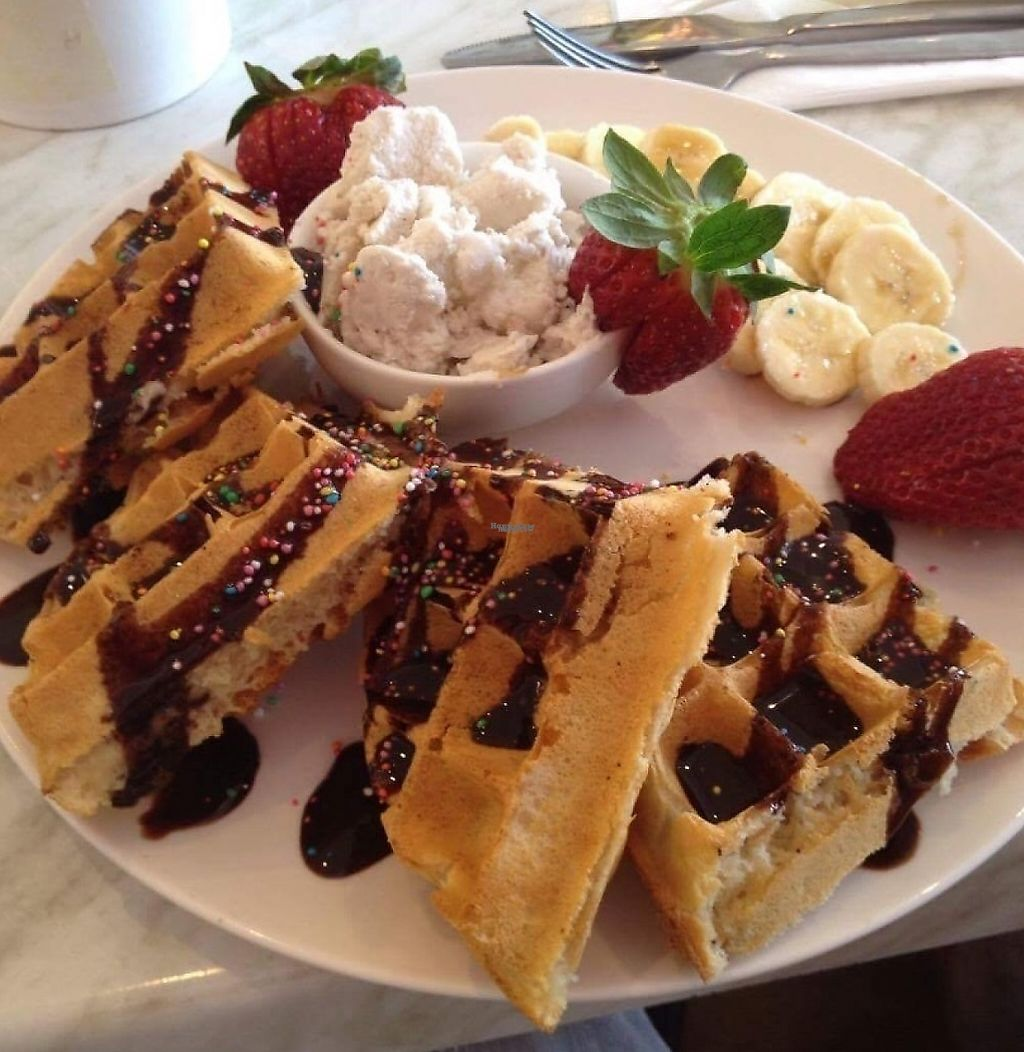 "Photo of Veganyumm  by <a href=""/members/profile/Biancasbud"">Biancasbud</a> <br/>Waffles with coconut ice cream and fruit with chocolate sauce.  <br/> December 15, 2016  - <a href='/contact/abuse/image/73898/252342'>Report</a>"