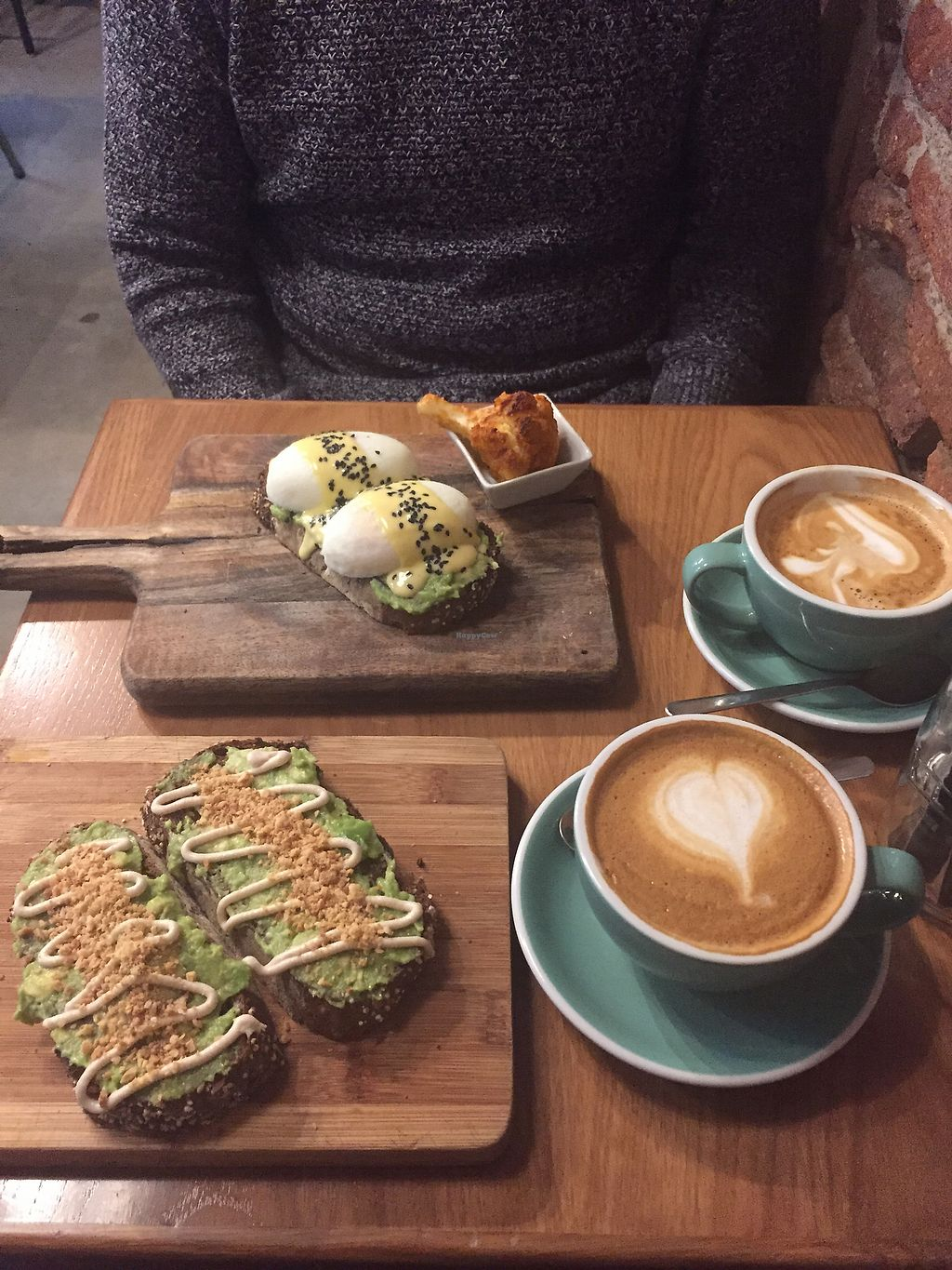 """Photo of Pum Pum Cafe  by <a href=""""/members/profile/TainahHeinrich"""">TainahHeinrich</a> <br/>Pum pum benedict and avocado toast with lattes  <br/> December 28, 2017  - <a href='/contact/abuse/image/73911/339986'>Report</a>"""